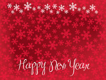 Happy New Year Snowflakes. Red Christmas Card with Snowflakes Pattern Stock Image