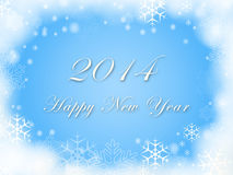 Happy New Year 2014 and snowflakes in blue. Happy New Year 2014 - text over blue background with snowflakes Stock Images
