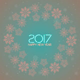 2017. Happy New Year. Snowflakes greeting card. Background for winter and christmas theme. Vector illustration. Snowing background Royalty Free Stock Images