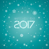 2017. Happy New Year. Snowflakes greeting card. Background for winter and christmas theme. Vector illustration. Snowing background Royalty Free Stock Photography