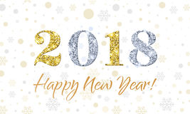 2018 Happy New Year on Snowflakes vector background. Gold and silver glitter texture. For New Year holiday greeting card, invitation, calendar, poster or banner Royalty Free Stock Photo