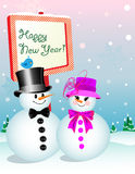 Happy New Year: Snowman Stock Image