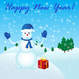 Happy New Year with snowman. And gift Royalty Free Stock Photo