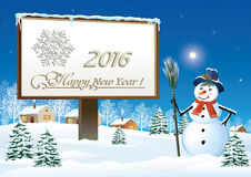 Happy New Year 2016. With a snowman and billboard on a background of a winter landscape royalty free illustration