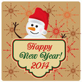 Happy new year. A happy snowman celebrating happy new year in a background with colored snowflakes Stock Illustration