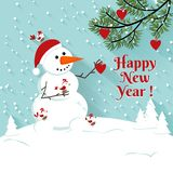 Happy New Year snowman illustration. Stock Photo