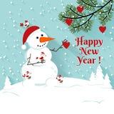 Happy New Year snowman illustration. Stock Photo