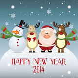 Happy new year. Snowman, reindeer and Santa Claus celebrating a new year Royalty Free Stock Photos