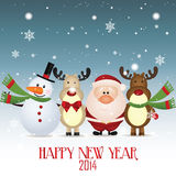Happy new year. Snowman, santa claus and reindeer celebrating a new year Stock Photo
