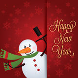 Happy new year. Snowman and happy new year text on special red background Stock Photography