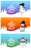Happy New Year with snowman. Three snowman and Happy New Year Royalty Free Stock Image