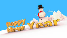 Happy new year Snowman on winter. 3D render illustration with Happy new year gold text and a snowman Royalty Free Stock Photos