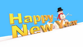 Happy new year Snowman on winter. 3D render illustration with Happy new year gold text and a snowman Stock Image