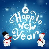Happy new year with snowmans. Happy new year with two snowmans on blue background Stock Photos