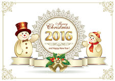 Happy New Year 2016. Snowmen with Christmas banner 2016 in the shape of snowflakes Royalty Free Stock Images