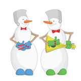 Happy New Year Snowmen musicians Royalty Free Stock Images