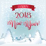 2018 Happy New Year snowy greeting card. 2018 Happy New Year and Christmas greeting card with white snowflakes, fir tree, reindeer, snowfall, red ribbon Stock Image