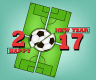 Happy new year and soccer ball. Happy new year 2017 and soccer ball against the background of a football field.  Vector illustration Royalty Free Stock Photos