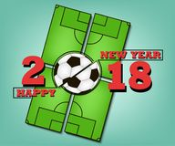 Happy new year and soccer ball. Happy new year 2018 and soccer ball against the background of a football field.  Vector illustration Royalty Free Stock Photos