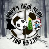 Happy new year. Dog and soccer ball. Happy new year 2018 and soccer ball with Christmas tree, dog and snowman. Vector illustration Royalty Free Stock Photography