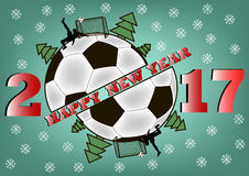 Happy new year and soccer ball Stock Photos