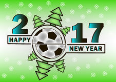 Happy new year and soccer ball Stock Images