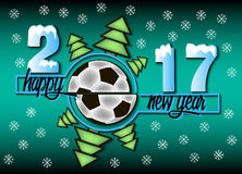 Happy new year and soccer ball. Happy new year 2017 and soccer ball with Christmas trees. Vector illustration Stock Photos