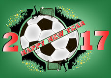 Happy new year and soccer ball. Happy new year 2017 and soccer ball with football fans. Vector illustration Royalty Free Stock Photo