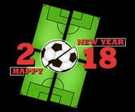 Happy new year and soccer ball Royalty Free Stock Photos