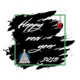 Happy New Year 2018 and soccer balls. Happy New Year 2018 and Christmas tree from soccer balls on grunge background. Vector illustration Stock Photo