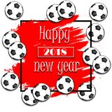 Happy New Year 2018 and soccer balls. On the grunge background. Vector illustration Royalty Free Stock Photos