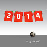 Happy new year 2014. Soccer jerseys on the cord, wishes for the new year 2014 Vector Illustration