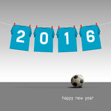 Happy new year 2016. Soccer jerseys on the cord, wishes for the new year 2016, vector illustration - blue version Stock Photo