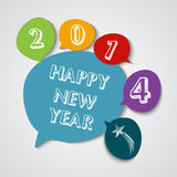 Happy New Year 2014 social bubble colors. Happy new year 2014 social media bubble colors greeting card illustration. EPS10 vector file with transparency layers royalty free illustration