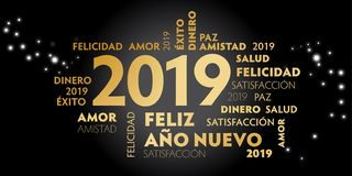 Happy New Year Spanish Language greeting card with spanish slogan. `feliz año nuevo` and good wishes for the new year. Black background and golden text stock illustration