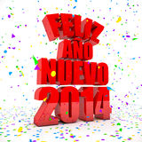 Happy New year 2014 in spanish languages. 3D Render of the text Happy New Year in spanish languages stock illustration