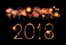 Happy new year 2018 with Sparkle firework at night Stock Photography