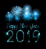 2019 happy new year with Sparkle firework royalty free stock images