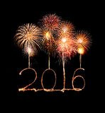 Happy new year 2016 (Sparkle firework) Royalty Free Stock Photography