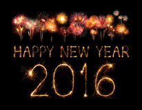 Happy new year 2016 with Sparkle firework Royalty Free Stock Photos