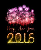 Happy new year 2016 with Sparkle firework Royalty Free Stock Images