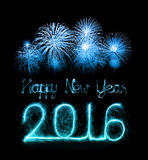Happy new year 2016 with Sparkle firework Stock Image