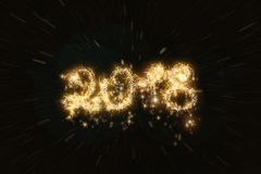 Happy new year 2018 sparkle text. Isolated on dark black background Stock Image