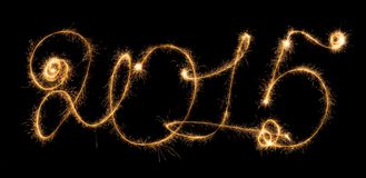 Happy New Year - 2015 with sparklers Stock Photography