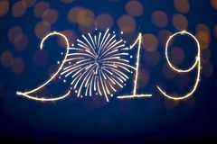 Happy New Year 2019 with Sparklers. New year concepts stock photography