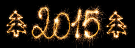 Happy New Year - 2015 with sparklers. Happy New Year - 2015 made sparklers royalty free illustration
