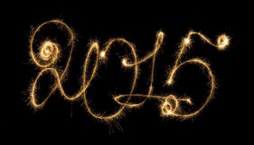 Happy New Year - 2015 with sparklers Stock Image