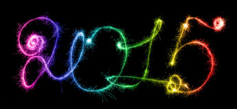 Happy New Year - 2015 with sparklers Stock Images