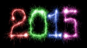 Happy New Year - 2015 with sparklers Royalty Free Stock Image