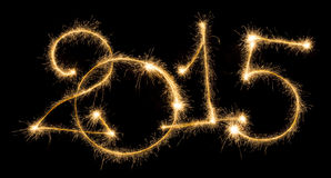 Happy New Year - 2015 with sparklers Royalty Free Stock Photography